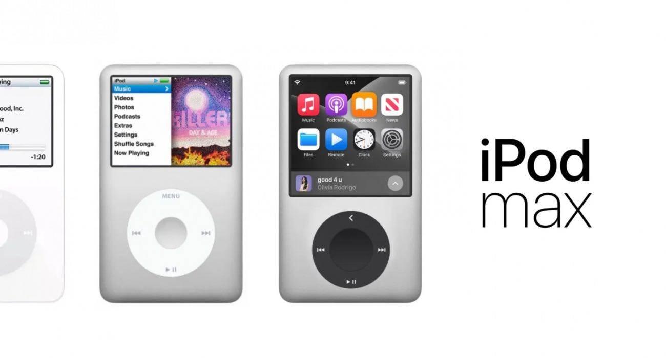 iPod Max i AirPods Max 2 z obsługą Apple Lossless - koncept polecane, ciekawostki koncept, iPod Max, AirPods Max 2  Apple może wydać jesienią nowy odtwarzacz muzyczny, aby uczcić 20. rocznicę powstania oryginalnego iPoda. Na tle tych plotek projektant Parker Ortolani stworzył piękną koncepcję iPoda Max i nowej generacji słuchawek AirPods Max. iPodMax