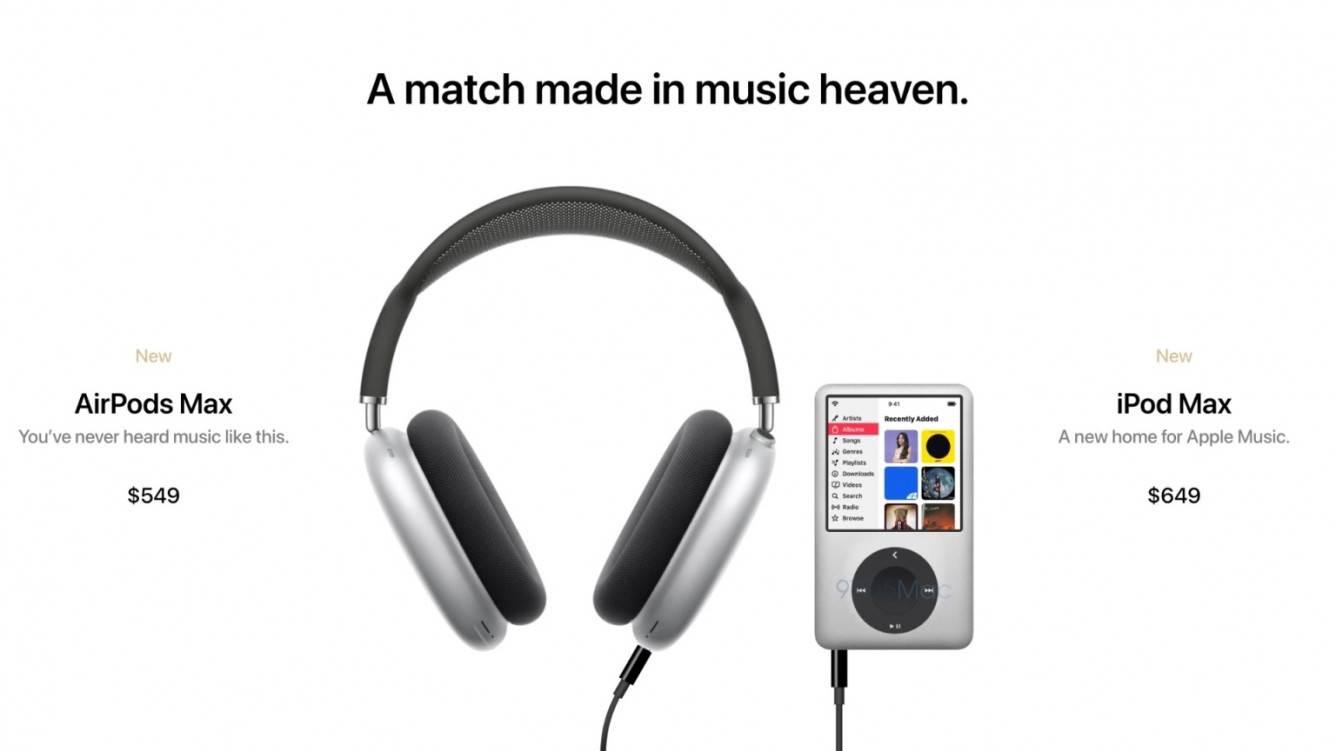 iPod Max i AirPods Max 2 z obsługą Apple Lossless - koncept polecane, ciekawostki koncept, iPod Max, AirPods Max 2  Apple może wydać jesienią nowy odtwarzacz muzyczny, aby uczcić 20. rocznicę powstania oryginalnego iPoda. Na tle tych plotek projektant Parker Ortolani stworzył piękną koncepcję iPoda Max i nowej generacji słuchawek AirPods Max. oiPodMax 4