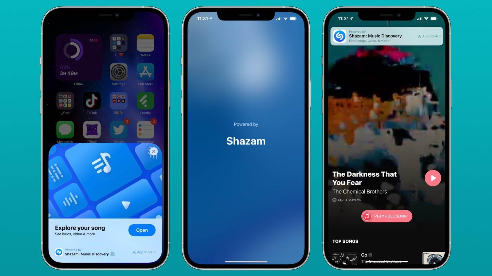Shazam w iOS 14.6 stał się wygodniejszy polecane, ciekawostki Shazam, iOS 14.6, Clips, App Clips  Apple dodało Shazam do Centrum Sterowania w iOS 14.2. W iOS 14.6 firma rozszerzyła integrację, zmieniając wbudowany Shazam w App Clips. shazam app clip ios 14.6