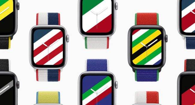 Apple wprowadza paski i tarcze inspirowane flagami polecane, ciekawostki międzynarodowe paski, Apple Watch  Dzisiaj, 29 czerwca, Apple zaprezentowało limitowaną edycję pasków dla Apple Watch, aby uczcić rychły początek Letnich Igrzysk Olimpijskich w Tokio. AW paski 1 650x350