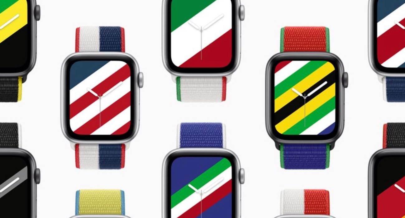 Apple wprowadza paski i tarcze inspirowane flagami polecane, ciekawostki międzynarodowe paski, Apple Watch  Dzisiaj, 29 czerwca, Apple zaprezentowało limitowaną edycję pasków dla Apple Watch, aby uczcić rychły początek Letnich Igrzysk Olimpijskich w Tokio. AW paski 1