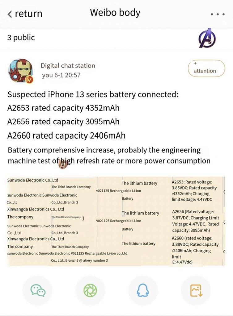 Poznaliśmy pojemność baterii iPhone 13 / mini / iPhone 13 Pro / Pro Max polecane, ciekawostki pojemność baterii iPhone 13 Pro Max, pojemność baterii iPhone 13 Pro, pojemność baterii iPhone 13 mini, pojemność baterii iPhone 13, pojemność baterii, jaka pojemnosc baterii ma iPhone 13 Pro, jaką baterię ma iPhone 13, iPone 13, iPhone 13 Pro max, iPhone 13 Pro, iPhone 13 mini, Apple  Informator o pseudonimie Digital Chat Station zdradził za pośrednictwem Weibo pojemność baterii wszystkich tegorocznych smartfonów Apple iPhone 13 / 13 Pro. bateria iPhone 13