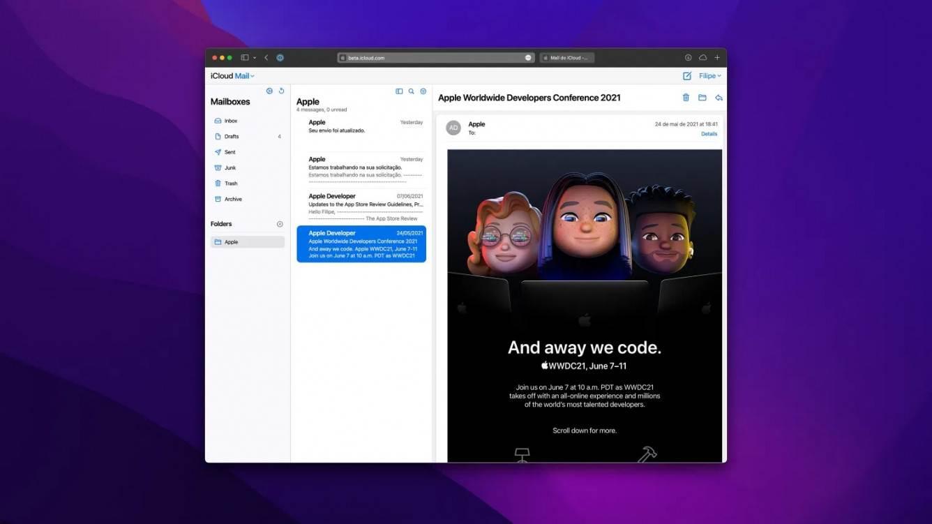Apple zmienia wygląd aplikacji Mail w internetowej wersji iCloud polecane, ciekawostki nowy wyglad, mail, internetowa wersja iCloud, iCloud  Apple po cichu zmieniło nieco wygląd aplikacji Mail w internetowej wersji iCloud. Jest on już dostępny w wersji beta. icloud mail
