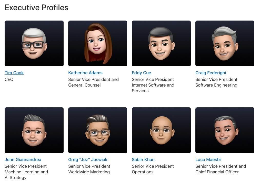 Dyrektorzy Apple stają się Memoji polecane, ciekawostki WWDC 2021, memoji, Apple  Na kilka godzin przed keynote otwierającym tegoroczne WWDC wszystkie zdjęcia profilowe kadry kierowniczej Apple na oficjalnej stronie internetowej i na profilach społecznościowych zostały przekształcone w Memoji. memoji apple wwdc 21