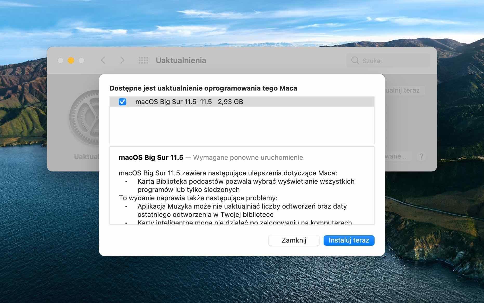 Finalna wersja macOS 11.5 Big Sur dostępna polecane, ciekawostki macOS Big Sur 11.5  Firma Apple udostępniła wszystkim użytkownikom finalną wersję macOS Big Sur 11.5. Lista zmian w tejże wersji systemu nie jest zbyt długa. macOS11.5 1