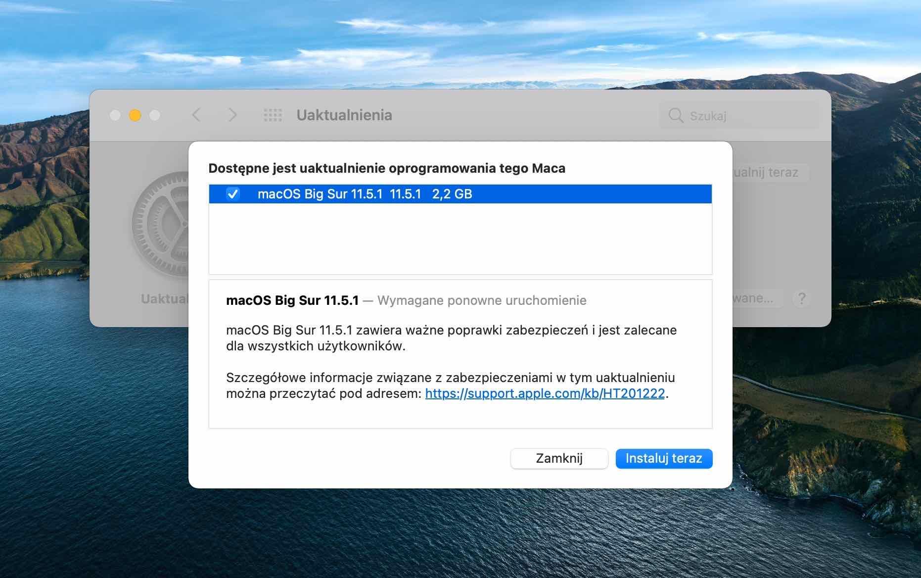 Apple wypuszcza macOS Big Sur 11.5.1 z ważnymi poprawkami bezpieczeństwa polecane, ciekawostki Update, macOS Big Sur 11.5.1, lista zmian, co nowego  Dziś oprócz iOS 14.7.1 i iPadOS 14.7.1 firma Apple wypuściła także nową wersję macOS 11.5.1 Big Sur z ważnymi poprawkami bezpieczeństwa. Poniżej oficjalna lista zmian. macos 11 5 1