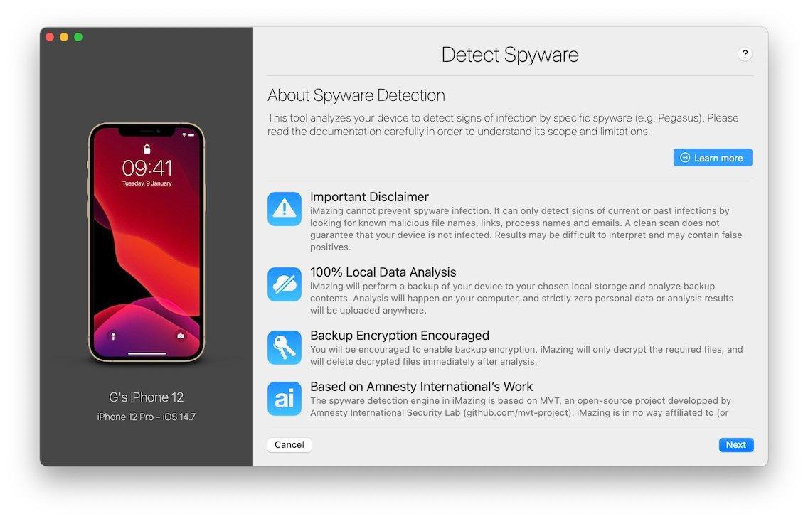 Jak wykryć Pegasusa i inne oprogramowanie szpiegujące na iPhone i iPad polecane, ciekawostki pegasus, oprogramowanie szpiegujące, jak wykryć Pegasusa na iPhone, Jak wygryć Pegasusa na iPad, darmowe narzędzie wykrywające Pegasusa  Twórcy narzędzia iMazing do przesyłania plików na urządzenia z systemem iOS dodali do swojej aplikacji darmowe narzędzie do sprawdzania iPhone i iPad pod kątem oprogramowania szpiegującego Pegasus. Pegasus iOS 3