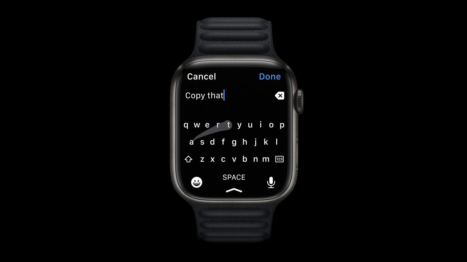 Większy ekran Apple Watch Series 7 umożliwia korzystanie z pełnej klawiatury ekranowej ciekawostki Apple Watch Series 7  Dzięki większemu wyświetlaczowi użytkownicy Apple Watch Series 7 mogą teraz korzystać z pełnej klawiatury bezpośrednio na nadgarstku. Apple Watch Series 7 Keyboard