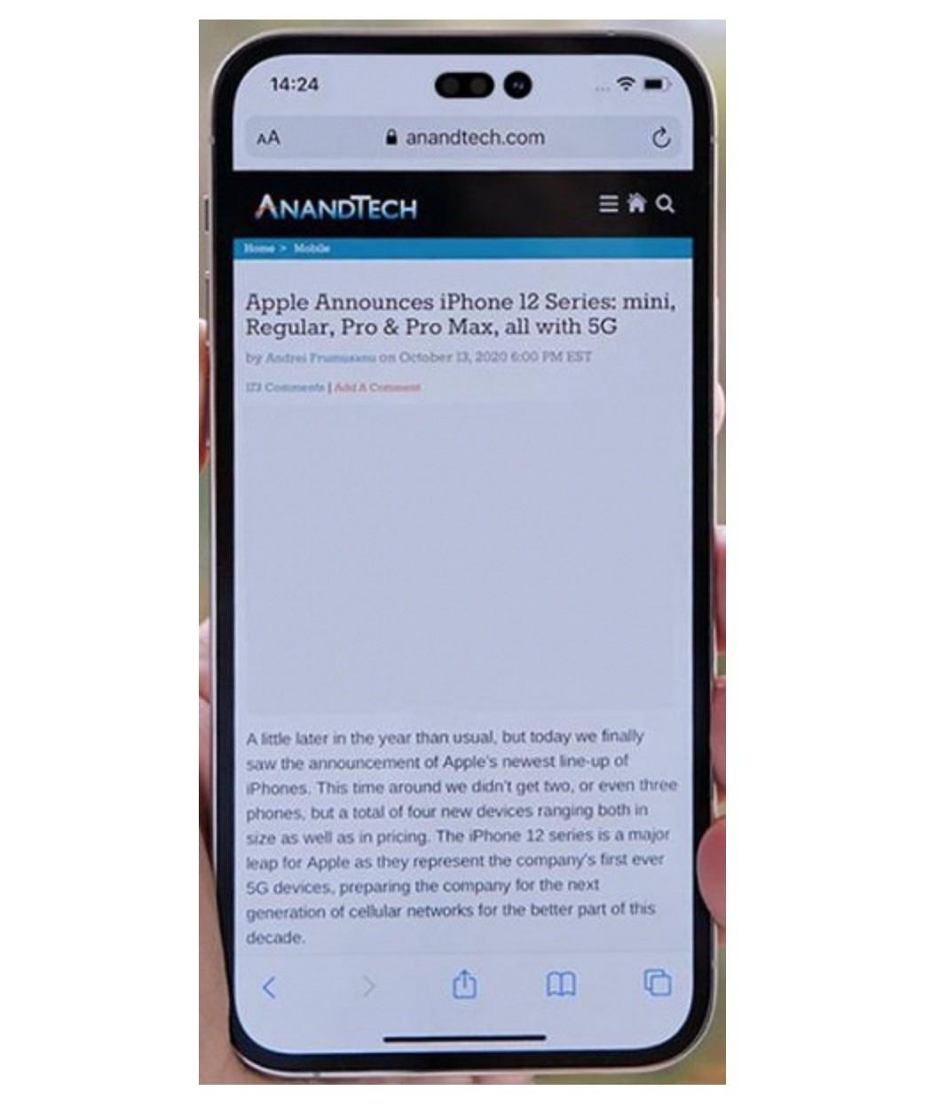 """Tak mniej więcej będą wyglądać """"dziury"""" w ekranie iPhone 14 ciekawostki jaki bedzie iphone 14, iPhone 14 Pro, iphone 14 na zdjeciu, iPhone 14, dziury w ekranie iphone 14  Jeszcze przed premierą linii smartfonów iPhone 13 w sieci pojawiły się pierwsze plotki na temat serii iPhone 14.  iPhone14 1"""