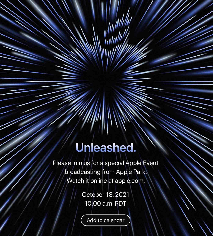 Apple zaprasza na prezentację nowych MacBooków. Wydarzenie obędzie się 18 października ciekawostki wydarzenie Unleashed, Unleashed, październikowa konferencja apple, konferencja Apple  Firma Apple ogłosiła dziś, że w poniedziałek 18 października o godzinie 19 polskiego czasu zorganizuje specjalną konferencję. Wydarzenie ma się odbyć w Steve Jobs Theatre na terenie kampusu Apple Park w Cupertino w Kalifornii. event1